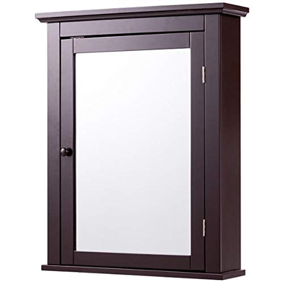 レザー移動十分ではない壁掛け式バスルームミラーキャビネット キッチン薬ストレージ 調節可能な棚 ブラウン