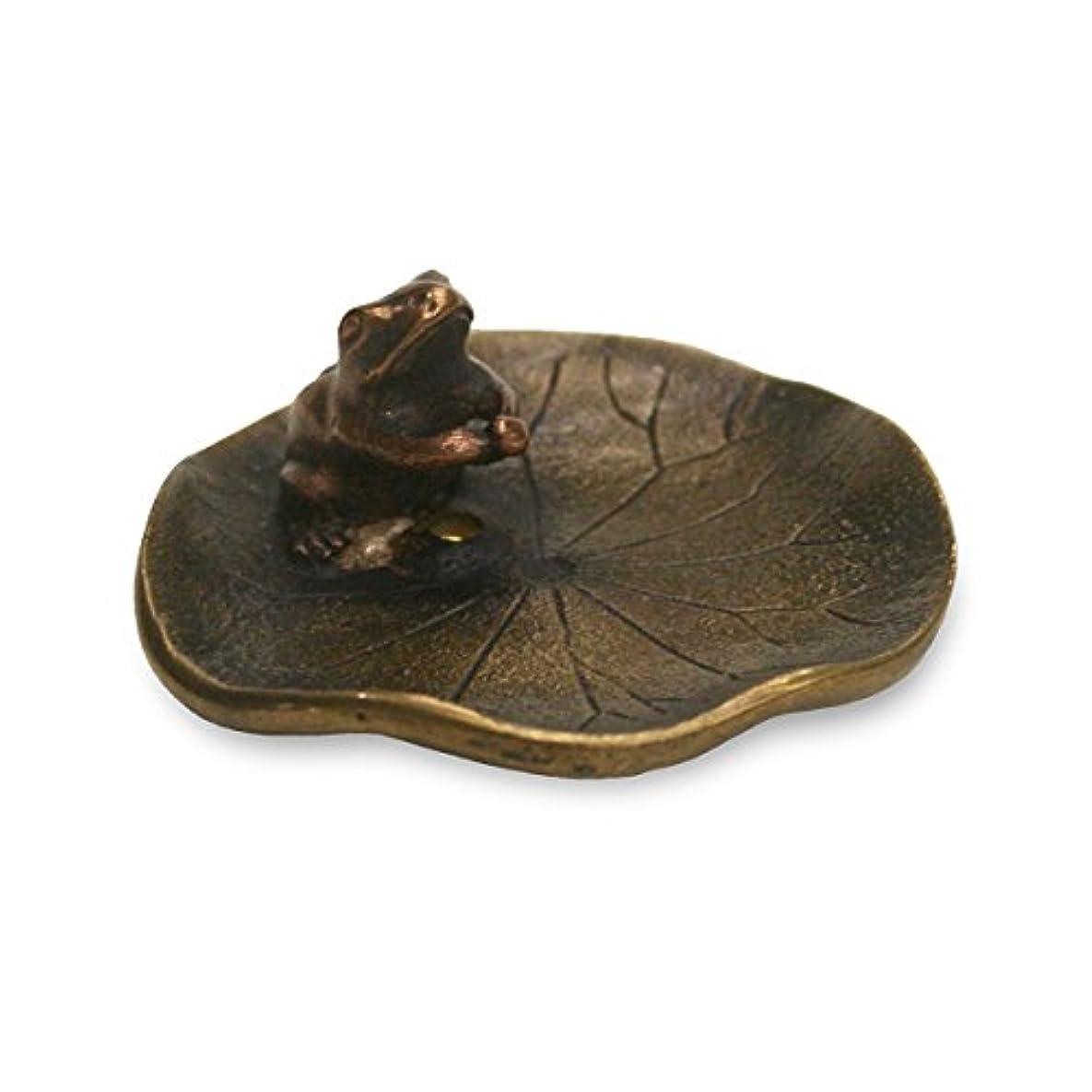 プロフェッショナルインディカ放棄する香立?香皿 蓮に蛙 香立て 小 銅製