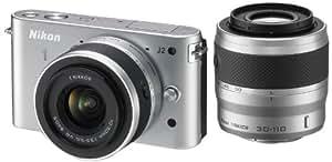 Nikon ミラーレス一眼 Nikon 1 J2 ダブルズームキット1 NIKKOR VR 10-30mm f/3.5-5.6/1 NIKKOR VR 30-110mm f/3.8-5.6付属 シルバー N1J2WZSL
