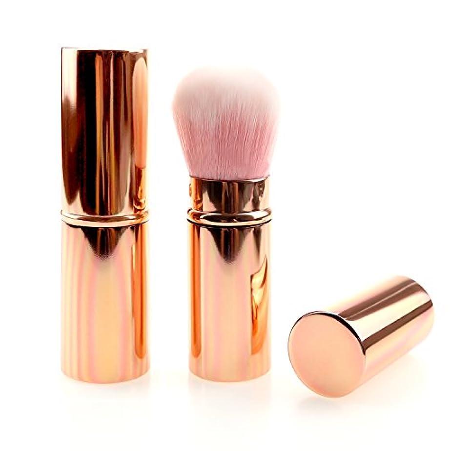 印象的な原稿飲み込むメイクブラシ コスメ 化粧筆 ケース付き ピンク 旅行用 (ピンクゴールド)