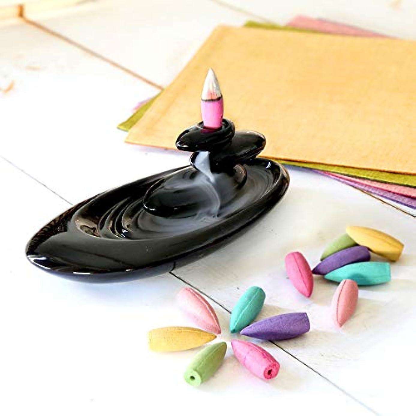 ぬれたマスク父方の倒流香 香炉 シンプル 6種の香り アロマ香炉 ギフトBOX仕様 アロマインセンス 逆流香 誕生日 プレゼント (通常ラッピング)