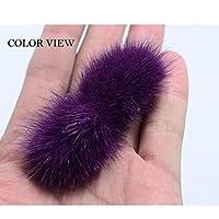 ハイグレードなミンクの毛手作りちょう結びシートDIYヘアアクセサリー3 * 7センチメートル4本/セット:パープル