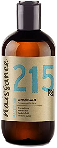 Naissance Pure Sweet Almond 250ml - Vegan, No GMO - Ideal for Haircare and Skincare, Aromatherapy and as a Mas