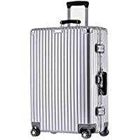 IRVING Scratchproof Aluminum Frame Trolley Case Universal Wheel Suitcase Male and Female Students Password Lock Suitcase (Color : Silver, Size : 29inch)