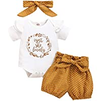 Camidy 3pcs Toddler Girl Romper Jumpsuit Bodysuit Bloomer Shorts+Headband Outfit Suit