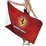 おしゃれ バスタオル Ferrari Logo 大判 ビーチタオル ホテルスタイル ソフトタオル プール 海水浴 旅行用タオル 速乾 大きい 軽量 薄手 吸水性バスビーチタオル マイクロファイバータオル 軽量 速乾 薄手 130*80