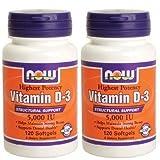[海外直送品] ナウフーズ 【バリュー2本セット】  ビタミンD-3 5000IU 120粒 Vitamin D-3 5000IU 120sof...