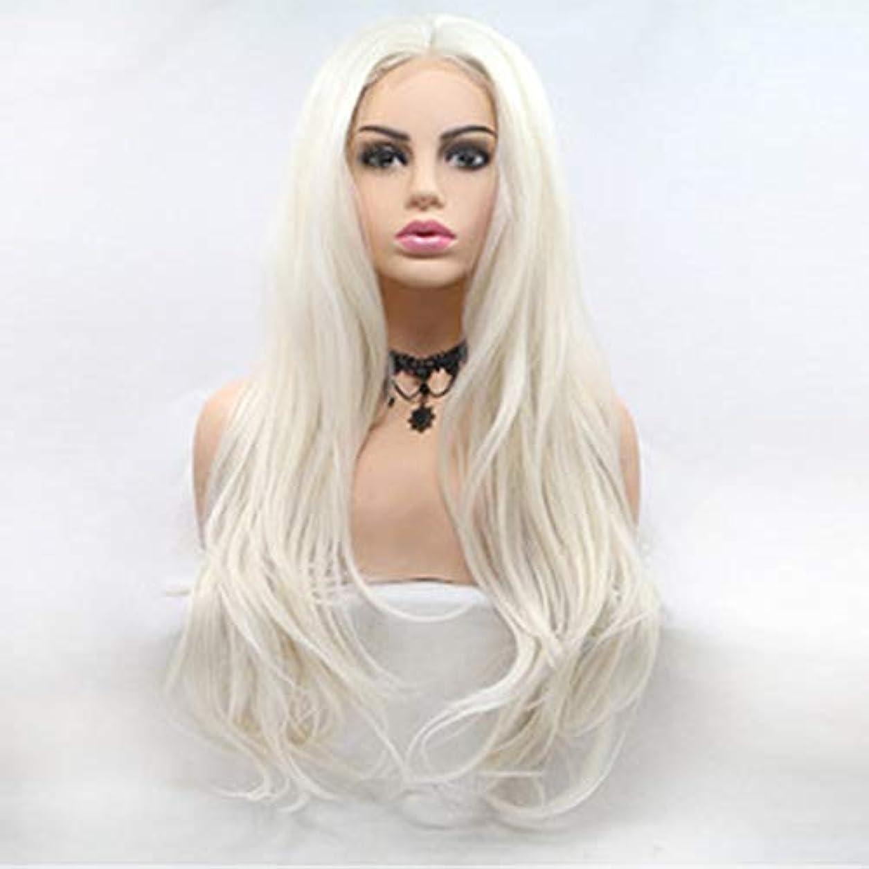左両方しかしヘアピース 女性のヨーロッパとアメリカの化学繊維のレースの長い巻き毛の白いかつらは、かつらを染めることができます