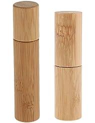 CUTICATE ロールオンボトル 天然竹 詰替え 精油 香水 液体 保存容器 小分け用 旅行 10ml+5ml 2個入