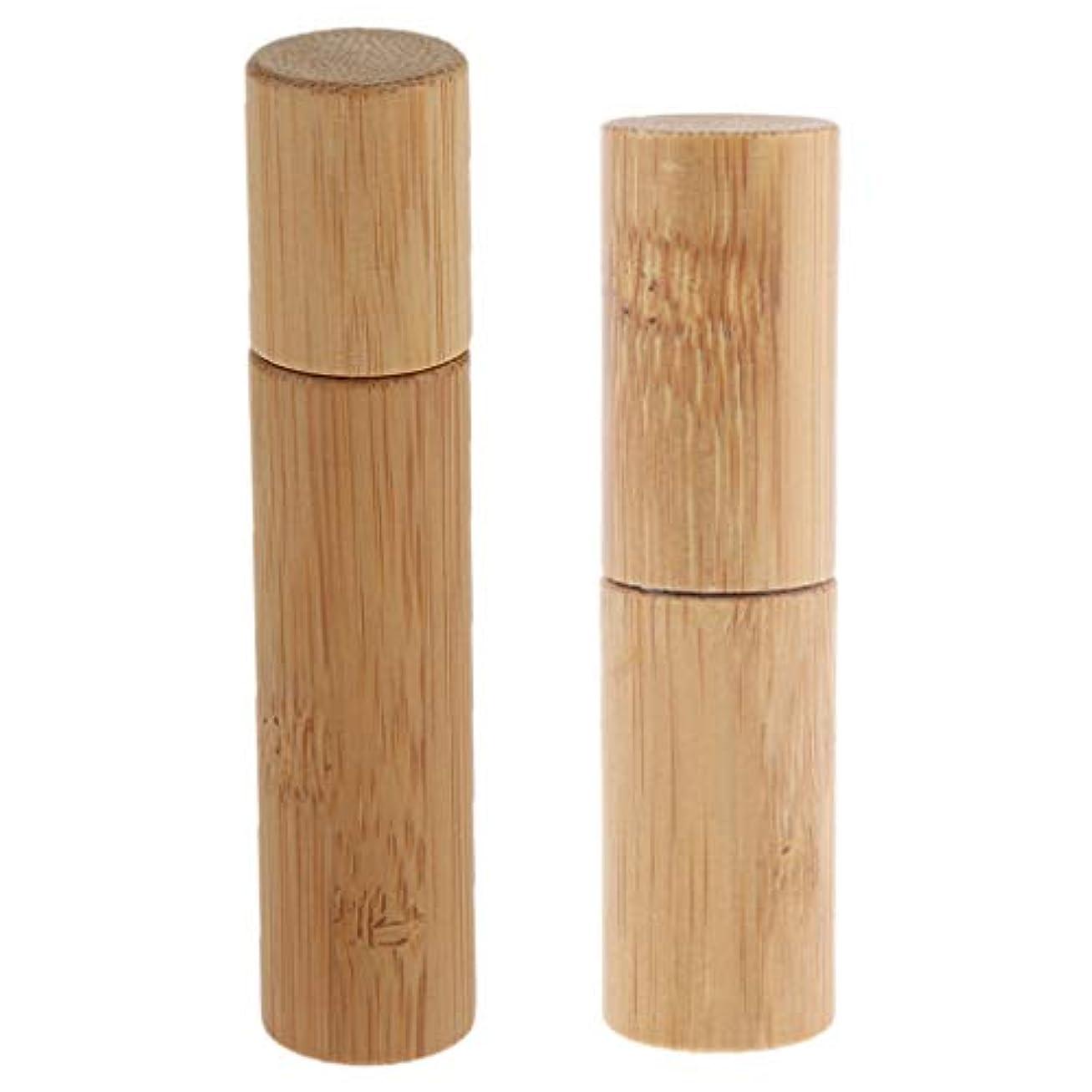 インデックス収穫夕暮れCUTICATE ロールオンボトル 天然竹 詰替え 精油 香水 液体 保存容器 小分け用 旅行 10ml+5ml 2個入