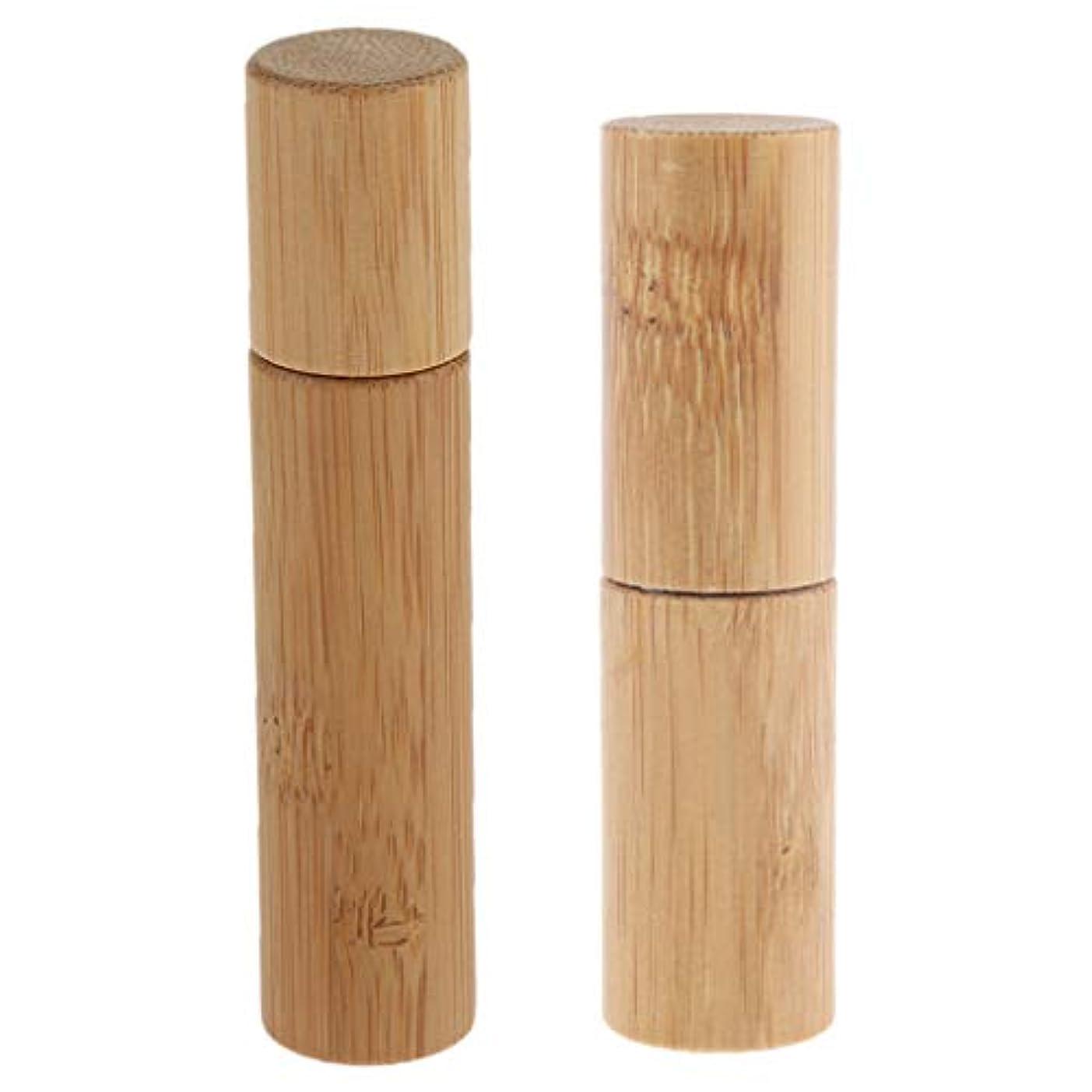 欠陥解決する人種CUTICATE ロールオンボトル 天然竹 詰替え 精油 香水 液体 保存容器 小分け用 旅行 10ml+5ml 2個入