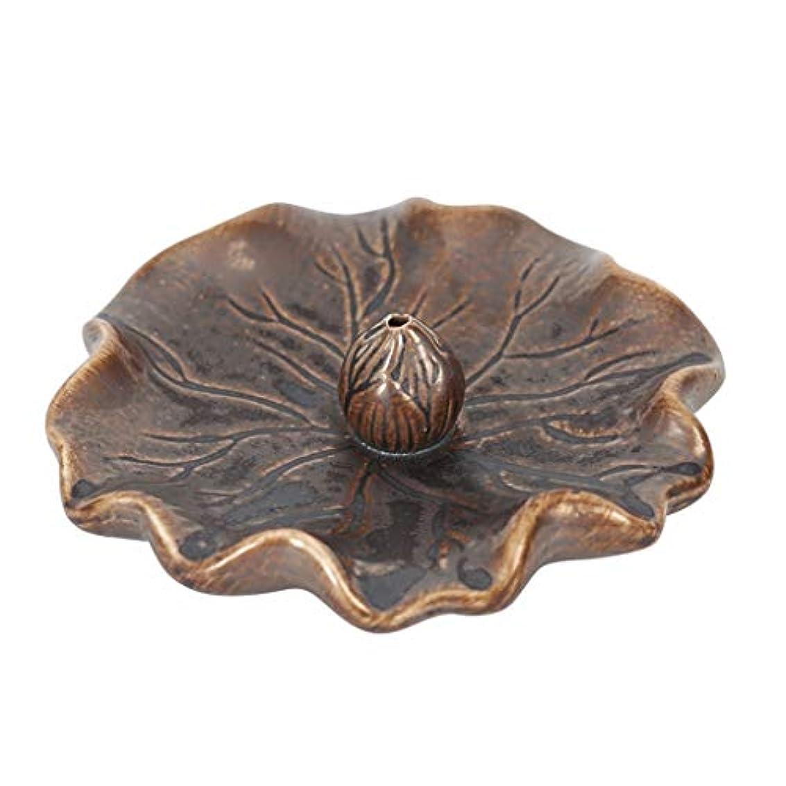 土器透過性解明するライン香バーナー蓮の葉アンティーク香ホルダービャクダン炉ホーム屋内香りの良い皿セラミック香ホルダー (Color : Brass, サイズ : 4.52*1.18inchs)