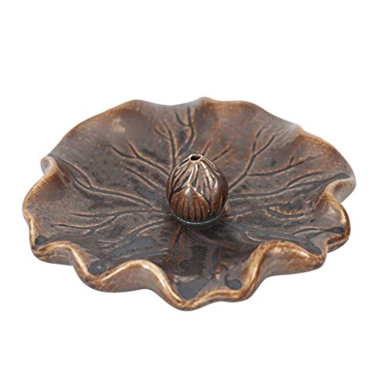 豪華な暴露する象蓮の葉セラミック香炉ライン香バーナーホーム寒天ベース屋内香ホルダーホルダーまっすぐな香香スティック (Color : Brass, サイズ : 4.52*1.18inchs)