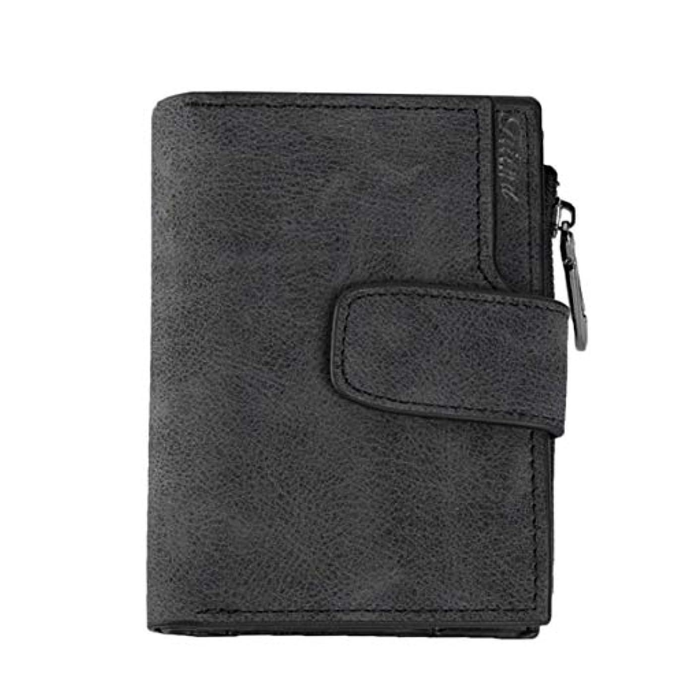 賢いめまいが工場ヴィンテージデザインジッパー掛け金財布女性革女性財布コインクレジットカードホルダーショート財布レディークラッチマットウォレット-ブラック