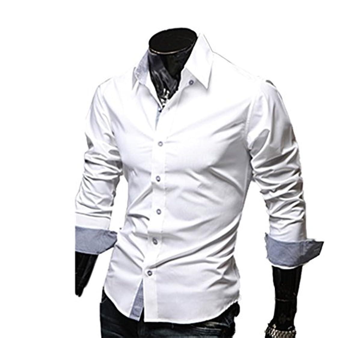 酔っ払い勝つリマークHonghu メンズ シャツ 長袖 秋冬 グレンチェック 無地 ホワイト 3XL 1PC