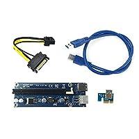 在庫ライザカードusb3.0 6pin PCI-E1Xへ16xエクグラフィックカードアダプタケーブル付きsata 15pinに6ピン電源ケーブル用マイニング