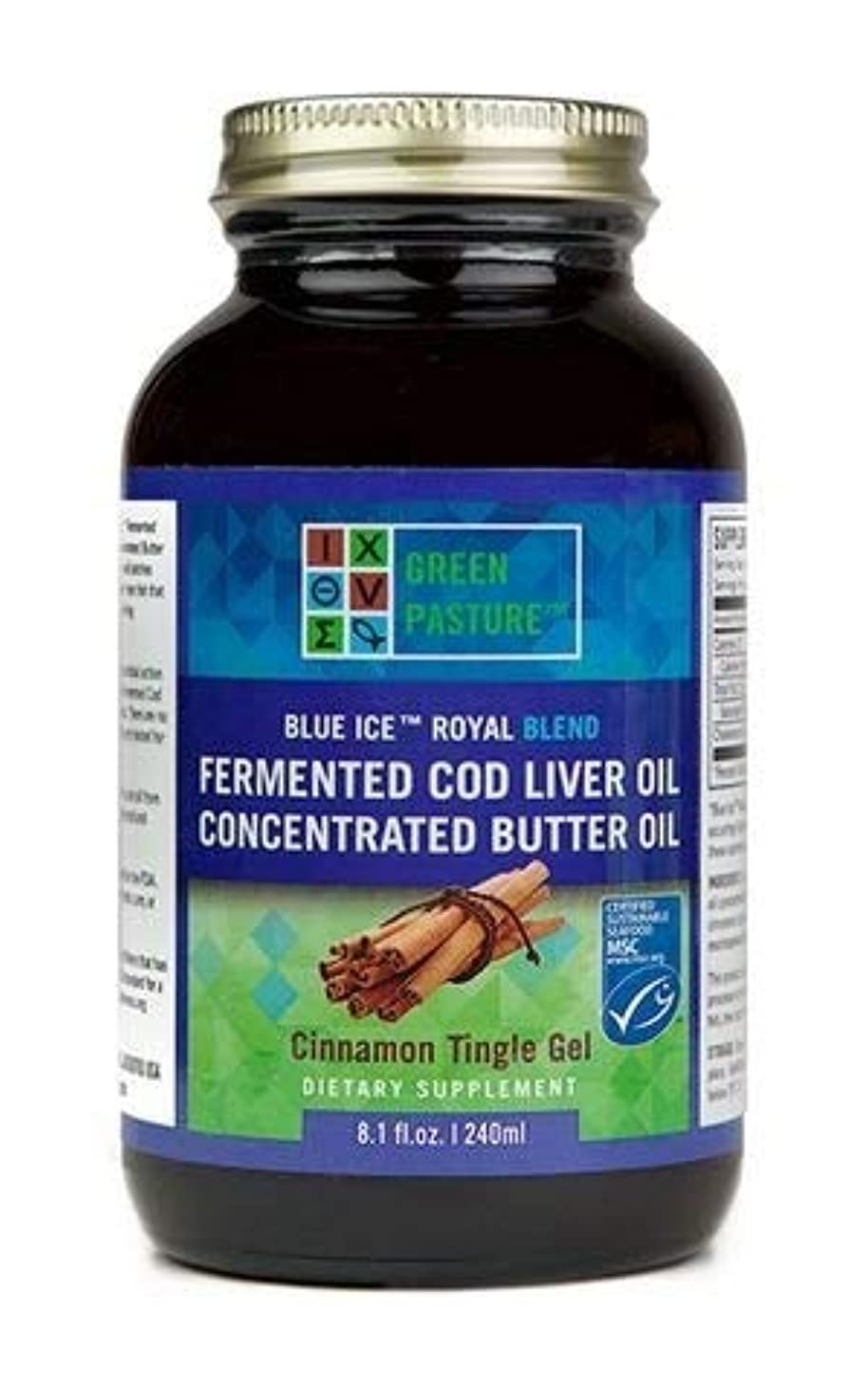 奨学金助けてまた明日ねGreen Pastures BLUE ICE Royal Butter Oil/Fermented Cod Liver Oil Blend Cinnamon(シナモン) Gel 8oz(240ml)