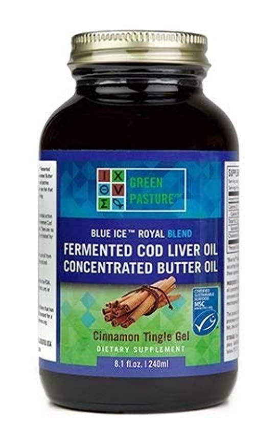 ポンド必要としているしたがってGreen Pastures BLUE ICE Royal Butter Oil/Fermented Cod Liver Oil Blend Cinnamon(シナモン) Gel 8oz(240ml)