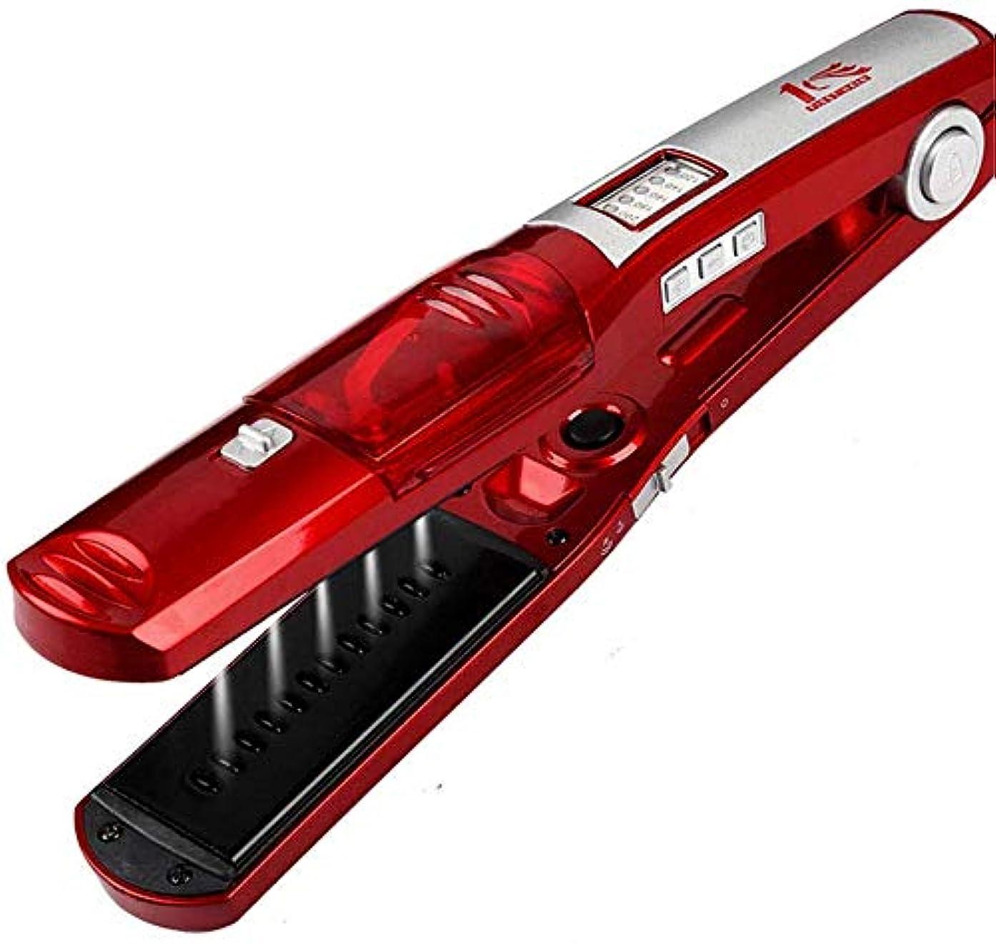 緩める工業化する消費ストレートヘアアイロン/カーラー 毛矯正は、すべての髪のタイプのために、LED、温度調整と蒸気矯正ロールストレートデュアルユーストルマリンセラミックヘアカーラースプレー