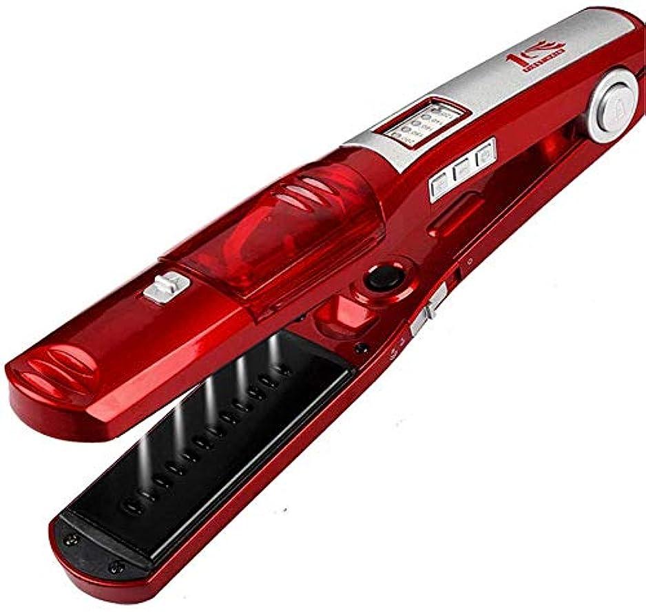スカリー余分な研磨ストレートヘアアイロン/カーラー 毛矯正は、すべての髪のタイプのために、LED、温度調整と蒸気矯正ロールストレートデュアルユーストルマリンセラミックヘアカーラースプレー