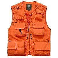 Flygo Men's Casual Lightweight Outdoor Travel Fishing Vest Jacket Multi Pockets