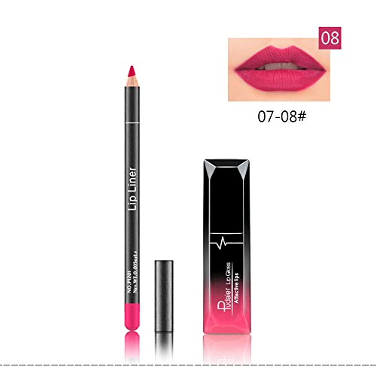 作曲家そして成り立つ(08) Pudaier 1pc Matte Liquid Lipstick Cosmetic Lip Kit+ 1 Pc Nude Lip Liner Pencil MakeUp Set Waterproof Long...