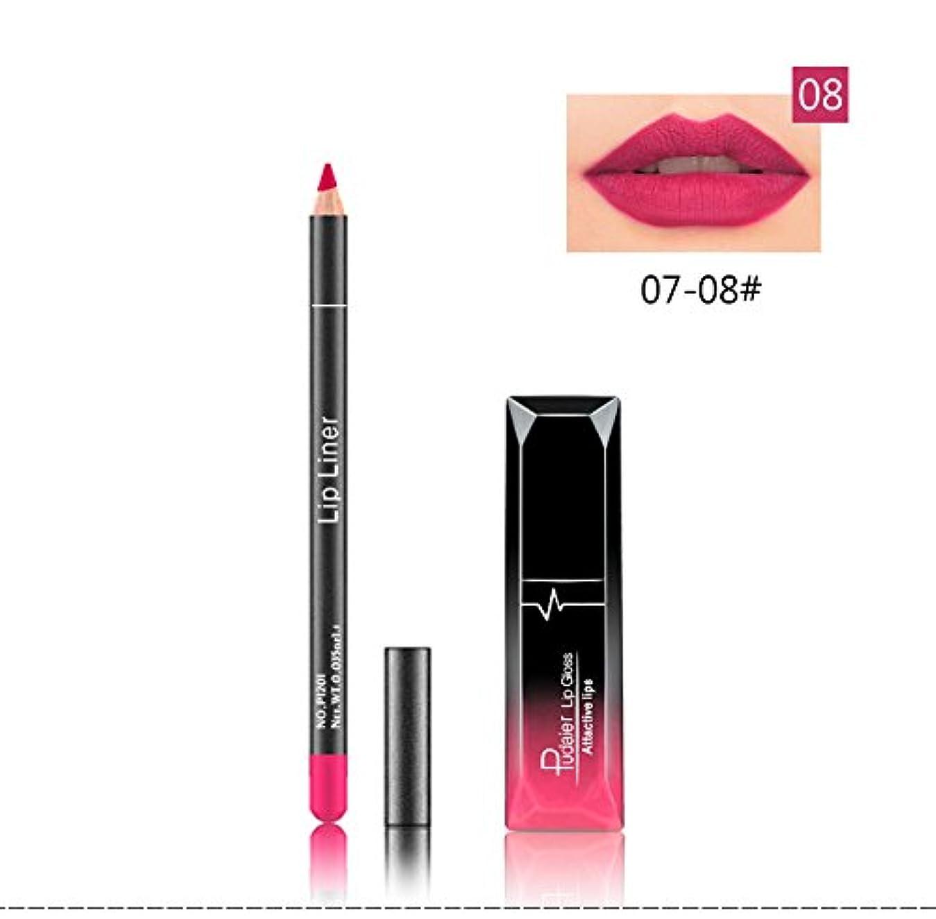 一時的クスクスパステル(08) Pudaier 1pc Matte Liquid Lipstick Cosmetic Lip Kit+ 1 Pc Nude Lip Liner Pencil MakeUp Set Waterproof Long...