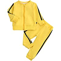 KONIGHT Kids Toddler Baby Boys Girls Fall Clothes Outfit Long Sleeve Zipper Hoodie Sweatshirt Shirt+Pants Winter Clothing Set