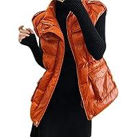 Macondoo Women Winter Down Cotton Padded Sleeveless Zip Up Overcoat Vest Jackets