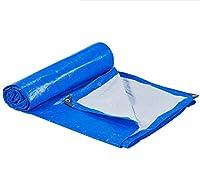 HUYYC 防水タープヘビーデューティーアウトドア - マルチサイズターポリンブルーホワイトキャンプテント防雨日焼け止め,4x6m