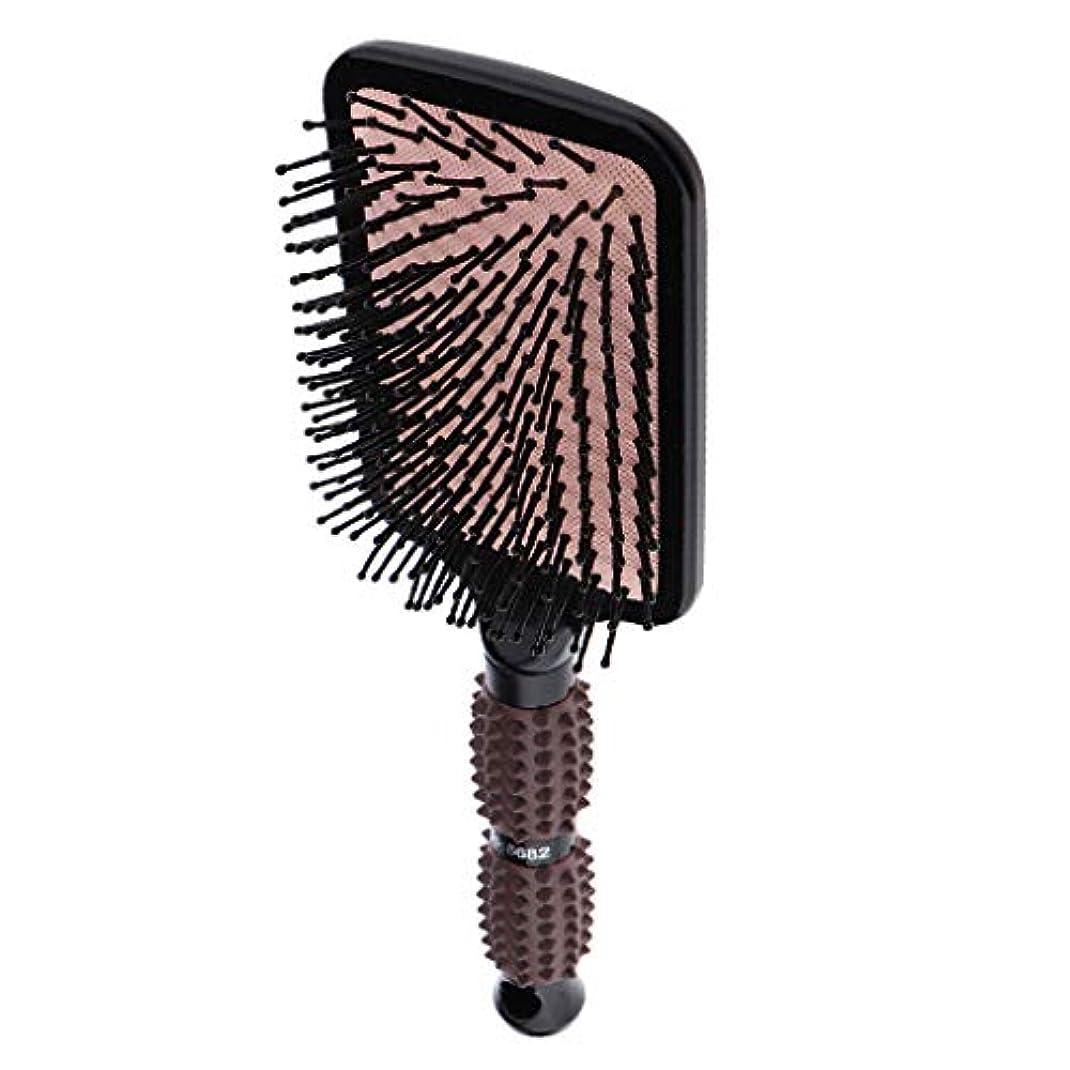 固体ヒョウ常にヘアブラシ 毛 頭皮 マッサージ 美髪ケア マッサージコーム 帯電防止 全2サイズ選べ - スクエア