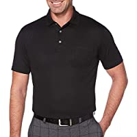 PGA TOUR Mens PVKS70E7  driflux Solid Pocketed Polo Short Sleeve Golf Shirt