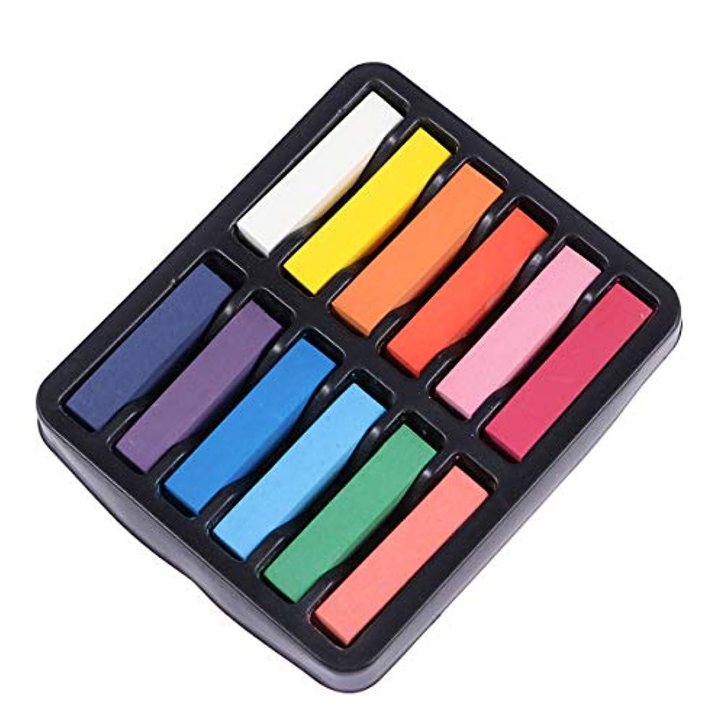 葉っぱトランザクション究極のBESTOYARD カラフルな髪のチョーク洗浄可能な一時的な髪のチョークのペンの髪のペンは、一度の髪を染める12個