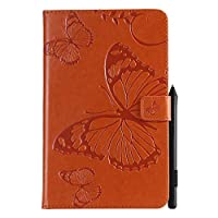 """Abtory All-New Fire HD 10 10.1"""" 2017 Model ケース, [Butterfly Embossing] PU Leather Cover with Auto Wake/Sleep Compatible with All-New Fire HD 10 10.1"""" 2017 Model Orange"""