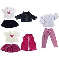 Lovoski  3セット入り 人形 流行 衣類セット Tシャツ スカート ウエストコート 18インチアメリカンガールドール適用