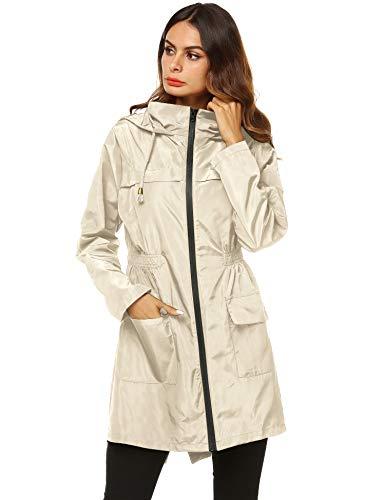 AKEWEI Women Lightweight Raincoat Waterproof Trench Coat Windbreaker Hiking Rain Jacket Breathable Summer Coat Beige L