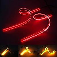 XINFOK LEDテープライト シーケンシャルウインカー付き 60cm 汎用 アンバースイッチバック 防水 フレキシブル LED ストリップ ランニングライト 車 LED DRLデイライトヘッドライト (60cm red and yellow)