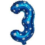 Blesiya 誕生日 記念日パーティー DIY 装飾 ナンバー0-9 フォイル製 ハート/スタープリント 風船 ピンク/ブルー 全2色10番号 - ブルー, 3