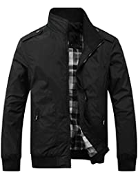 Keaac 軽量のボンバージャケットメンズファッションの完全なジップアウターコート