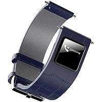 時計バンドBluetoothのリストバンドメッセージの呼び出しの通知レザー腕時計のストラップ(カラー:ブルー)