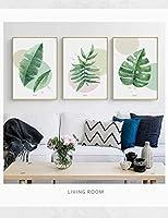 植物グリーンリーフ壁アートキャンバス絵画現代家の装飾ミニマリストのポスター印刷写真用リビングルーム-50×70センチ×3ピースフレームなし