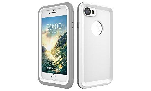 Iphone 7 防水電話ケースは、HBER IP68完全密閉水泳ダイビング水中防塵耐雪性の耐震ヘビーデューティケースカバーは、iphone7のために敏感な画面タッチ指紋認証ロック解除をサポートしています (白)