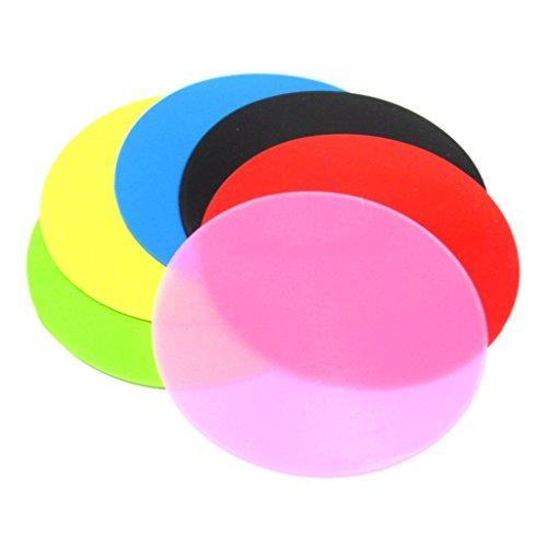 (Aideaz) シンプル カラフル シリコン コースター 耐熱 カップ マット カバー 6枚 セット (6色)