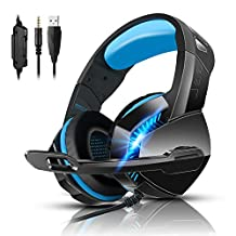 PS4 Gaming Headset with 7.1 Surround Sound, Xbox One Headset with Noise Canceling Mic & LED Light, PHOINIKAS H3 Over Ear Headphones, Compatible with Nintendo Switch, PC, PS4, Xbox One, Laptop (Blue)