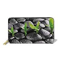 竹の葉の付いた玄武岩石水滴の付着自然の調和レディース長財布、エレガントな手、財布、財布、クレジットカード
