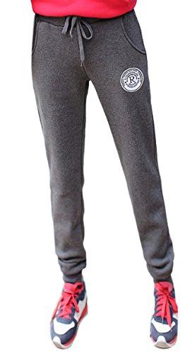 DOLCE LUCCI レディース 薄手 カジュアル スウェットパンツ ヨガ ピラティス ダンス ジョギング フィットネス ストレッチ パンツ ルームウェア (XL, グレー)