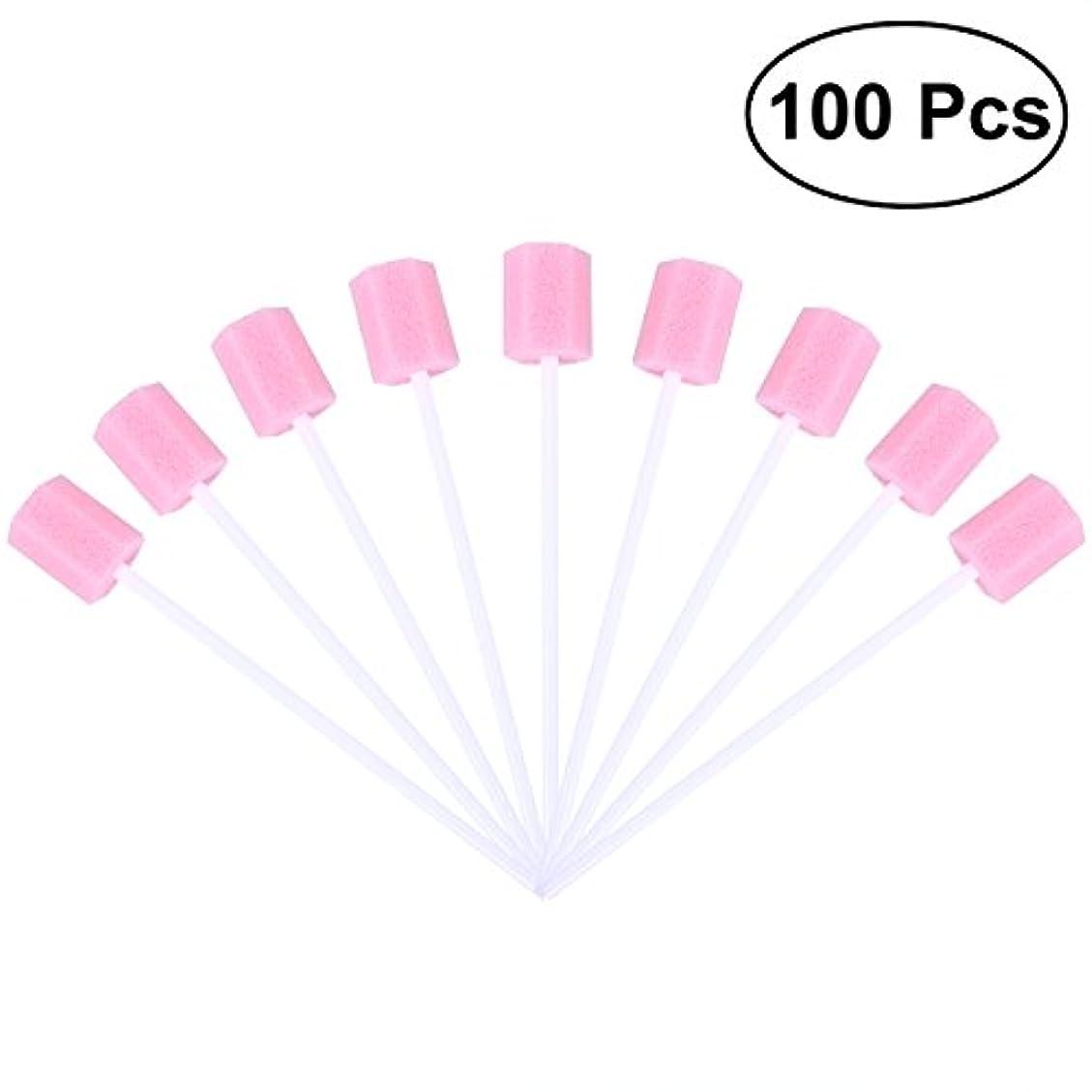 ヘッジフィラデルフィア額ROSENICE 使い捨て口腔ケアスポンジスワブ歯口洗浄スワブ100個(ピンク)