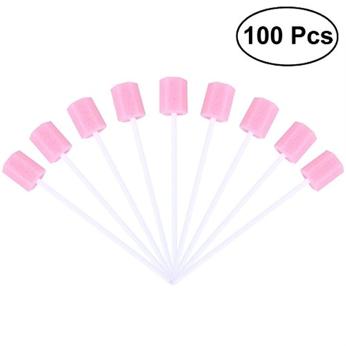 講堂符号シャトルROSENICE 使い捨て口腔ケアスポンジスワブ歯口洗浄スワブ100個(ピンク)