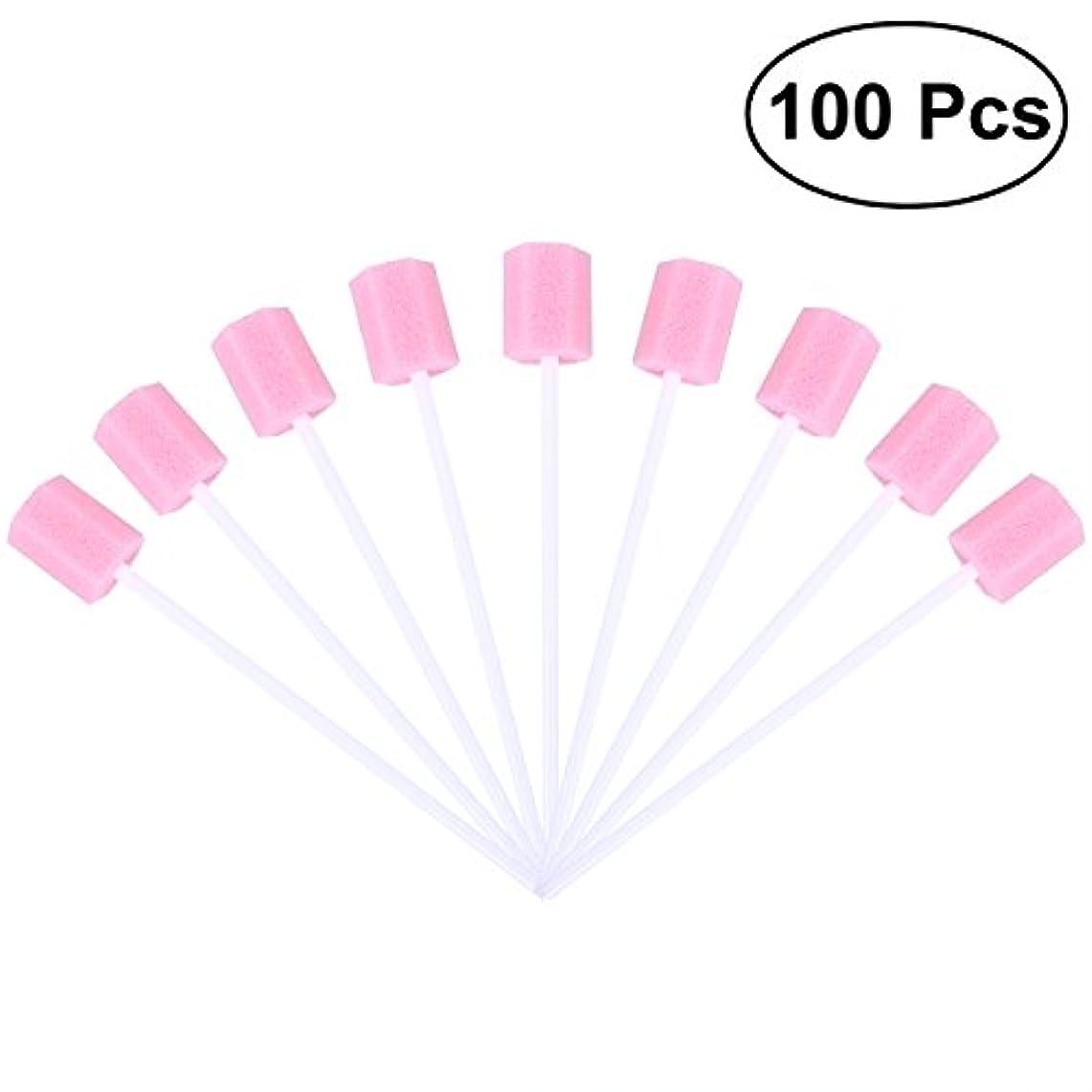 主人進む付き添い人ROSENICE 使い捨て口腔ケアスポンジスワブ歯口洗浄スワブ100個(ピンク)