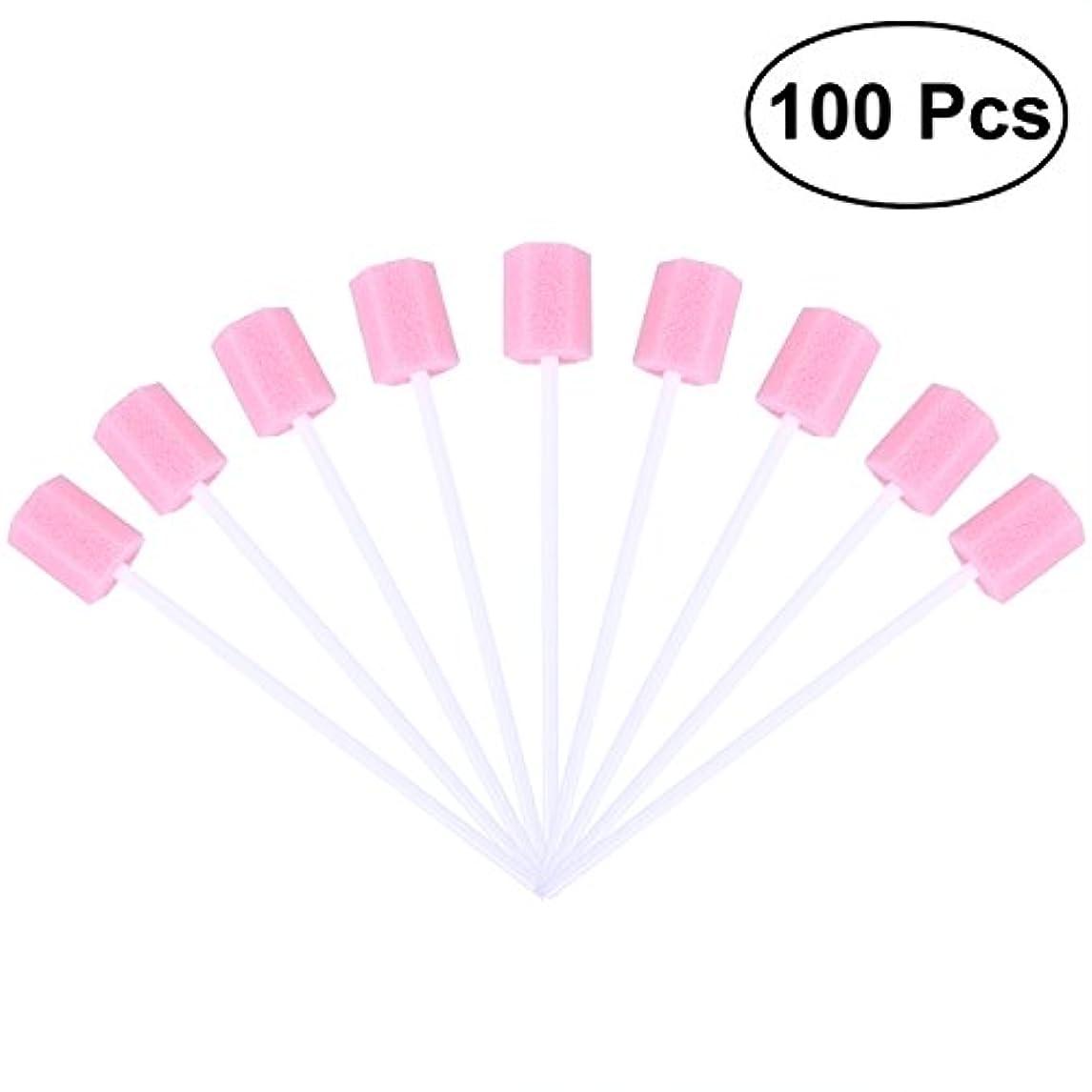 漏斗つかいます報いるROSENICE 使い捨て口腔ケアスポンジスワブ歯口洗浄スワブ100個(ピンク)